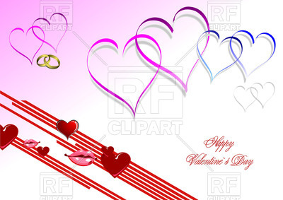 400x283 Valentine`s Day Card With Simple Hearts Royalty Free Vector Clip
