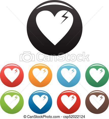 429x470 Broken Heart Icons Set Vector Simple. Broken Heart Icons Vector