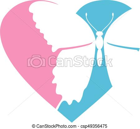 450x415 Butterfly Heart. Simple Valentine Love Heart With Vectors