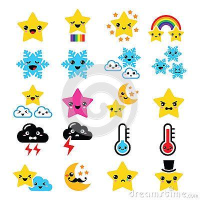 400x400 Cute Weather Kawaii Icons Star, Rainbow, Moon, Snowflake