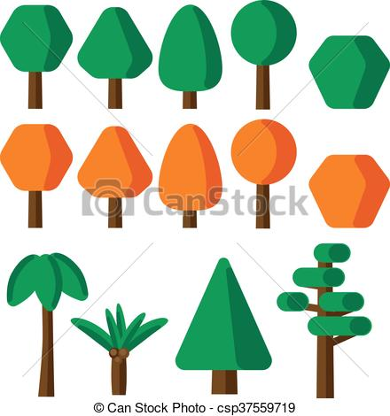440x470 Flat Style Simple Tree Icons Set Vector Clip Art