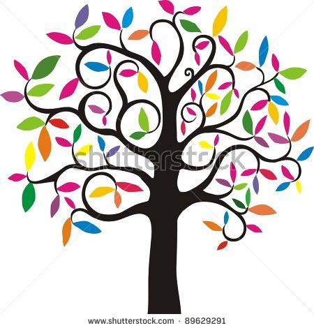450x470 Tree with rainbow leaves Tree. Simple Stylized Tree