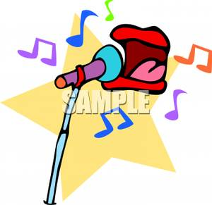 300x291 A Mouth Singing Into A Microphone Clip Art Image