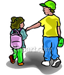 254x300 Boy Walking His Little Sister To School Royalty Free Clipart Picture