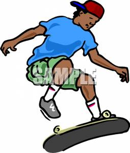 255x300 Clipart Picture A Boy With A Skateboard Doing Tricks
