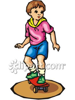 263x350 Royalty Free Clipart Image Young Boy Riding A Skateboard