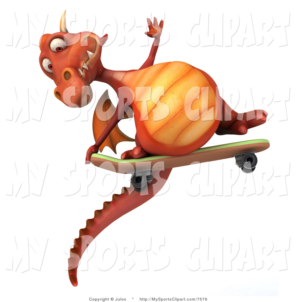 1024x1044 Sports Clip Art Of A Dragon On A Skateboard By Julos