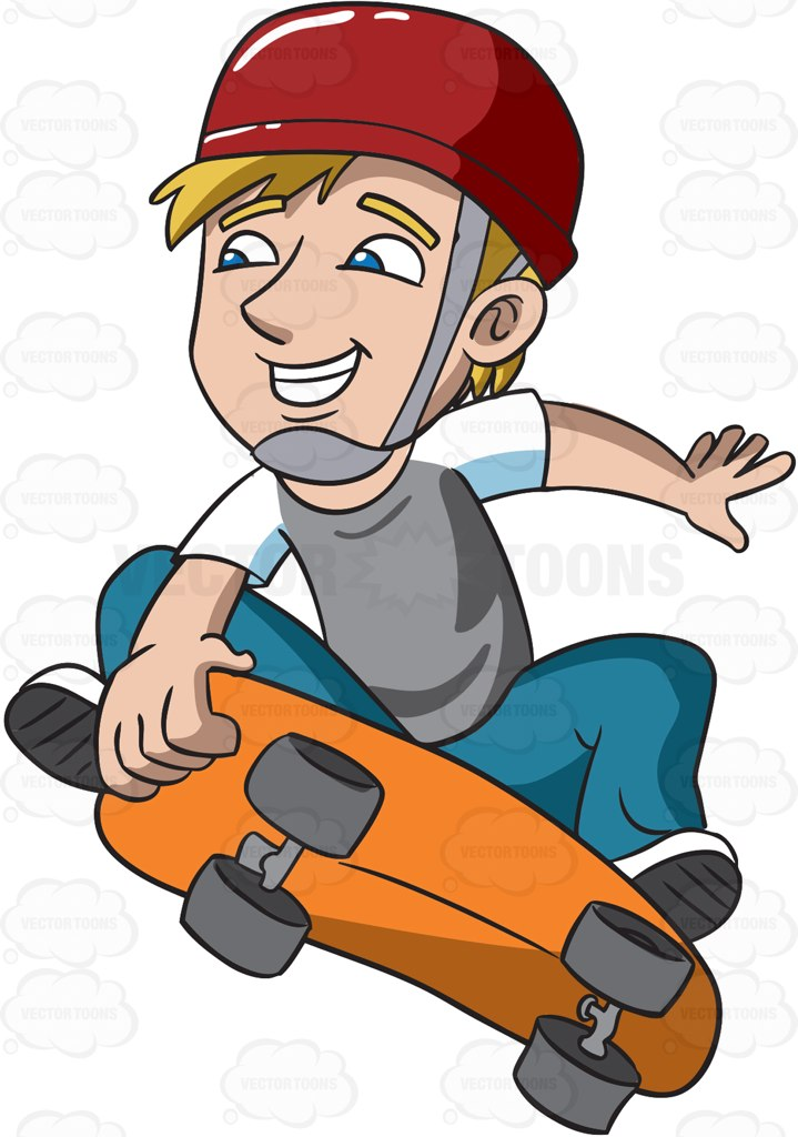 719x1024 A Teenager Jumping High With His Skateboard Cartoon Clipart