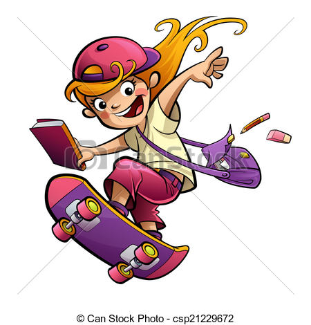 450x470 Cartoon Happy Smiling Student Girl With Skateboard Going
