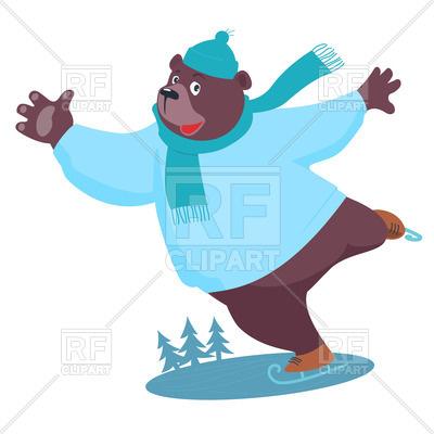 400x400 Cartoon Bear Ice Skating Royalty Free Vector Clip Art Image