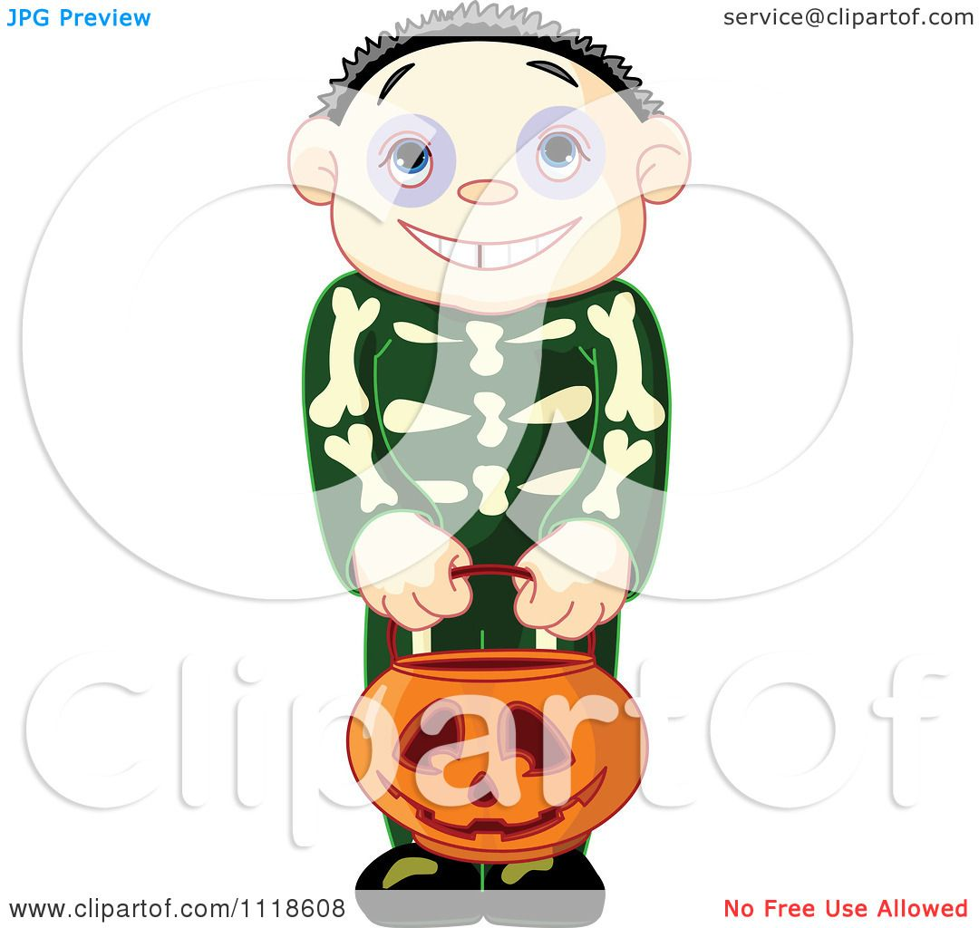 1080x1024 Cartoon Of A Trick Or Treating Halloween Kid In A Skeleton Costume