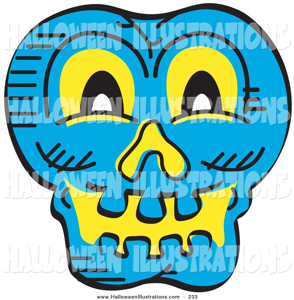 1024x1044 Halloween Clip Art Of A Scary Blue Halloween Skull Glowing