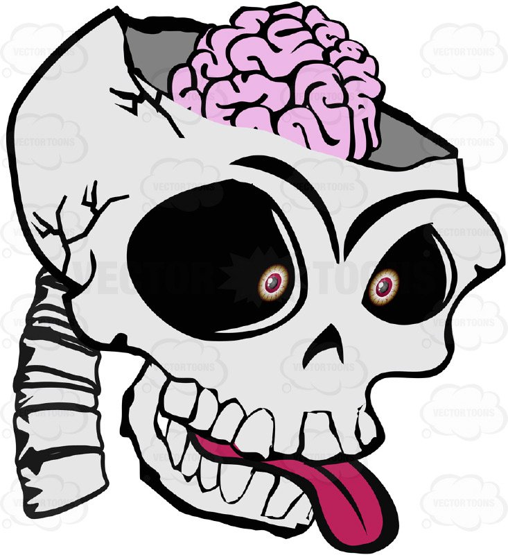 733x800 Cartoon Skull Open Showing Exposed Brain Sticking Out Tongue