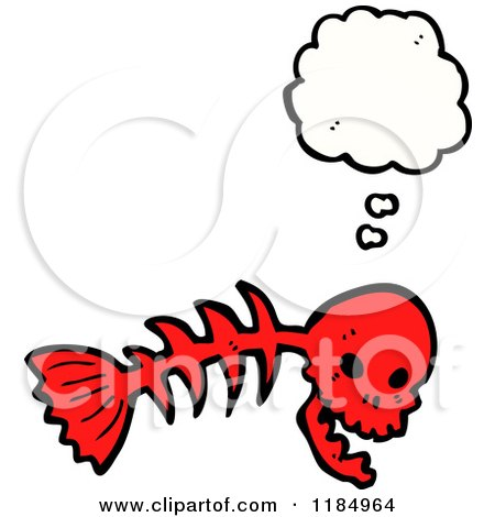 450x470 Cartoon Of A Fish Skeleton With A Skull Head
