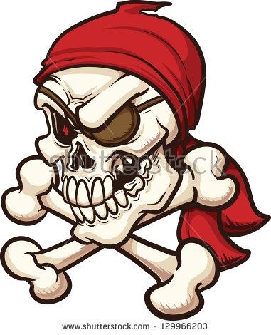 381x470 Clip Art Cartoon Pirate Skull Crossbones Vector Illustration Stock