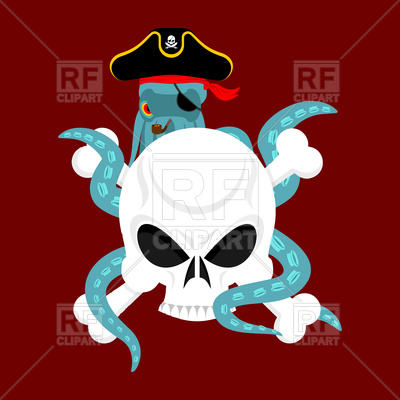 400x400 Octopus Pirate And Skull