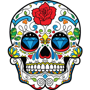 300x300 Skull Clipart Colorful'12053