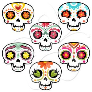 300x300 Sugar Skulls Clip Art Set Crafty Stuffs Halloween