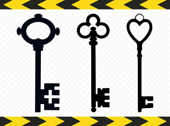 570x425 Key Svg Clipart Skeleton Key Decal Decor Heart Cut Files