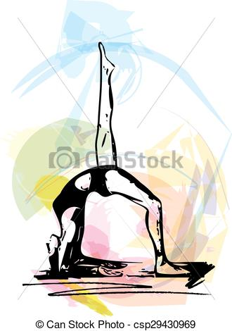 330x470 Yoga Woman Illustration. Yoga Sketch Woman Illustration