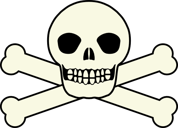 600x431 Smiling Skull And Crossbones Clip Art