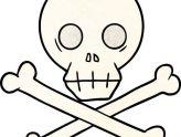164x124 Elegant Skull And Crossbones Clip Art Royalty Free Drawing