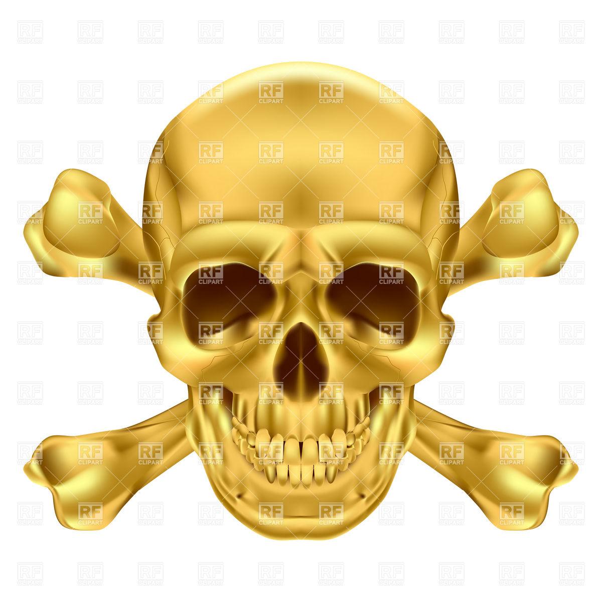 1200x1200 Golden Skull And Crossbones Royalty Free Vector Clip Art Image