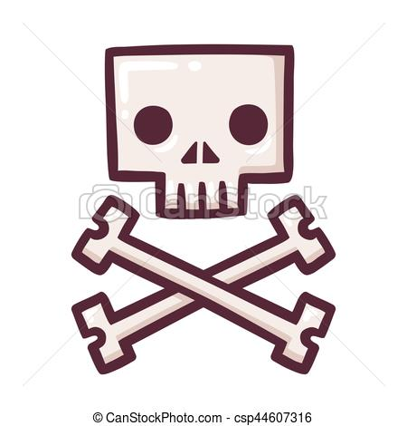450x470 Stylized Skull With Crossbones. Stylized Square Cartoon Vector