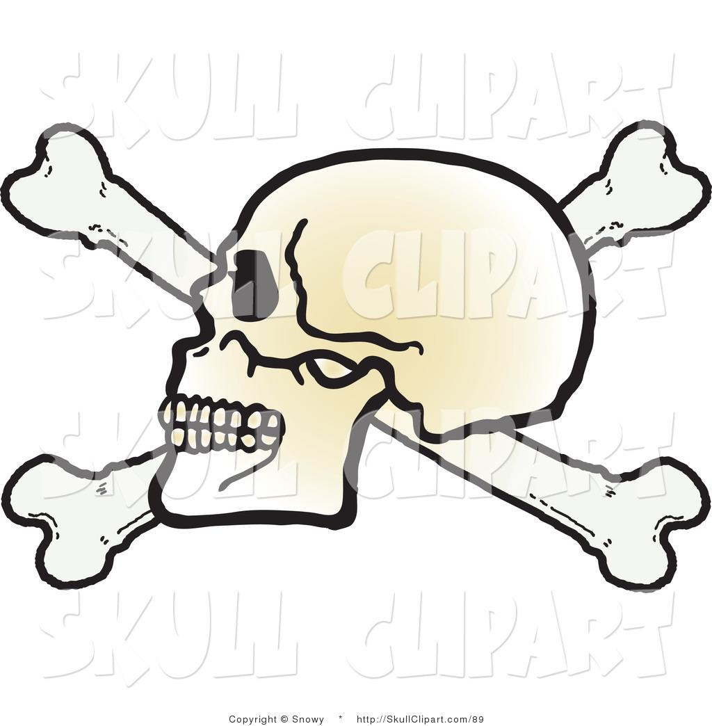 1024x1044 Vector Clip Art Of A Human Skull Facing Left On Top Of Crossbones