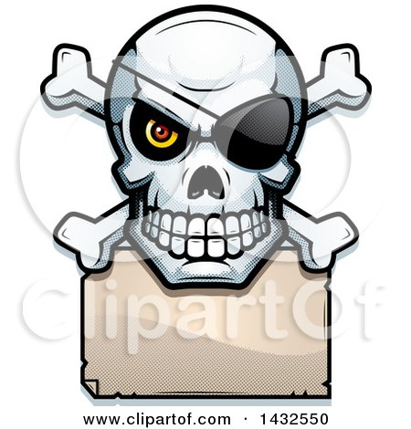 450x470 Clipart Of A Halftone Black And White Pirate Skull And Crossbones