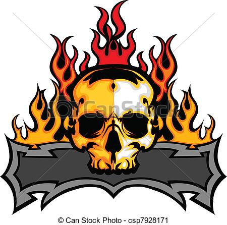 450x446 Skull Template With Flames Vector I. Graphic Skull Vector