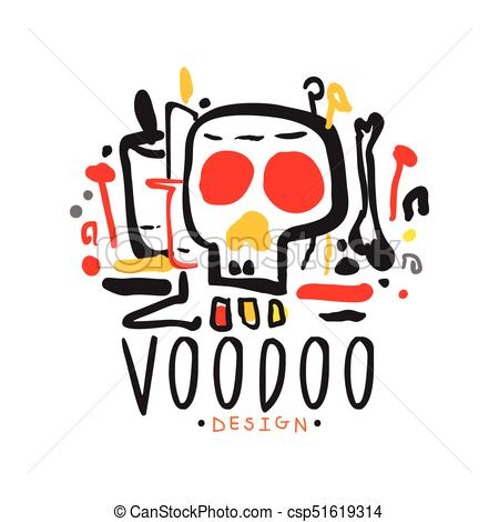 450x470 Voodoo African And American Magic Logo With Mystic Skull