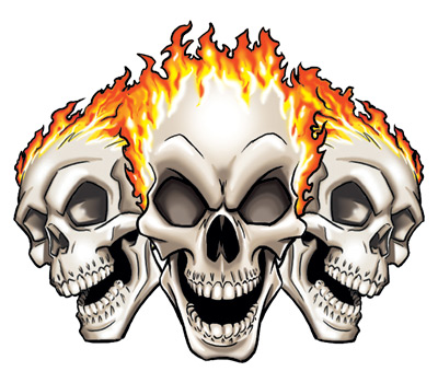 400x350 Cool Flaming Skull Clipart
