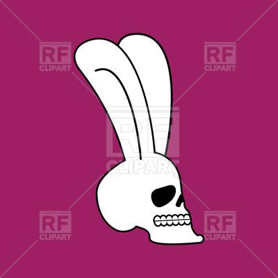 400x400 Rabbit Skull On Purple Background Royalty Free Vector Clip Art