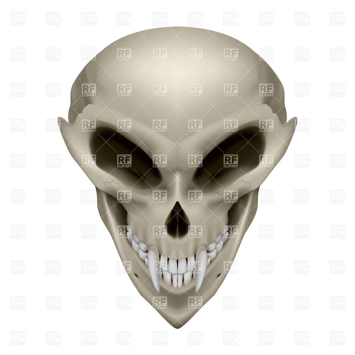 1200x1200 Skull Of An Alien With Fangs Royalty Free Vector Clip Art Image