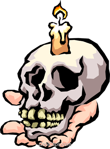 354x480 Skull With Candle Royalty Free Vector Clip Art Illustration