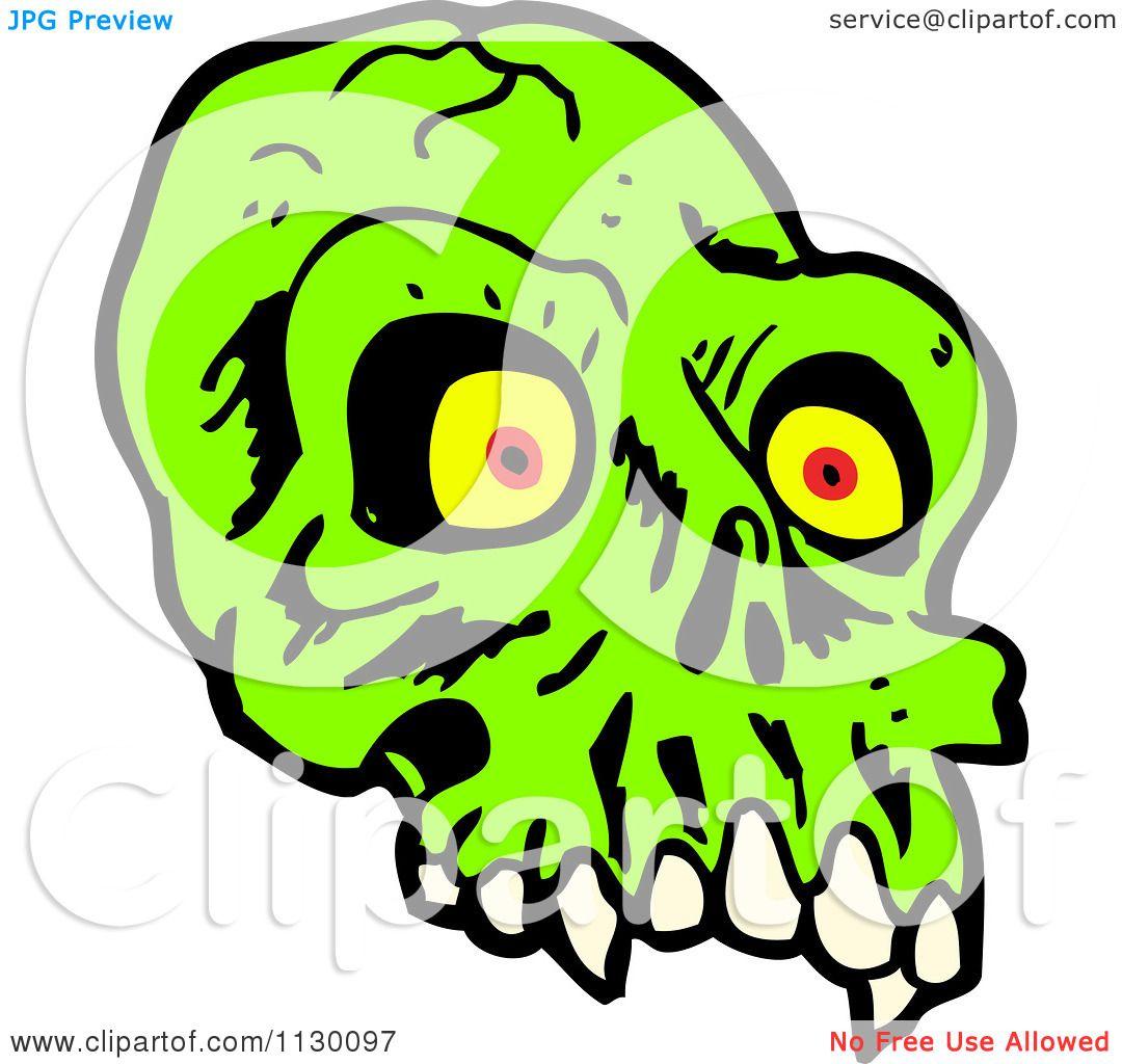 1080x1024 Cartoon Of A Green Alien Skull 1