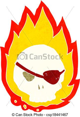 324x470 Cartoon Burning Skull Clip Art Vector