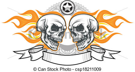 450x240 Skulls With Flame. Double Flaming Skulls With Ribbon And Vector