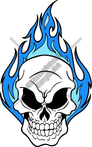 312x500 Flaming Skull Clipart