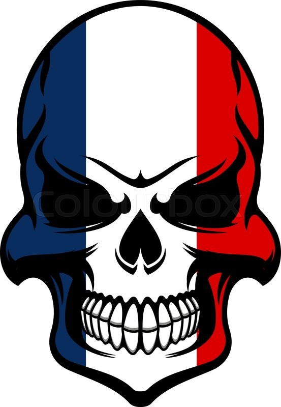 553x800 Pirate Skull Colored In National Colors Of France Isolated