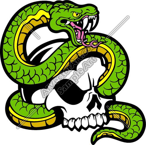 500x497 Viper Snake Tangled In Skull Clipart And Vectorart Misc Graphics