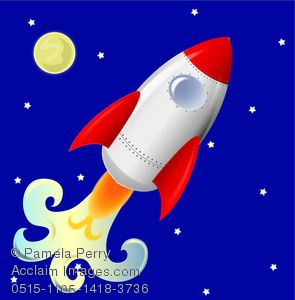 295x300 Clip Art Image Of A Cute Rocketship Flying Across Night Sky