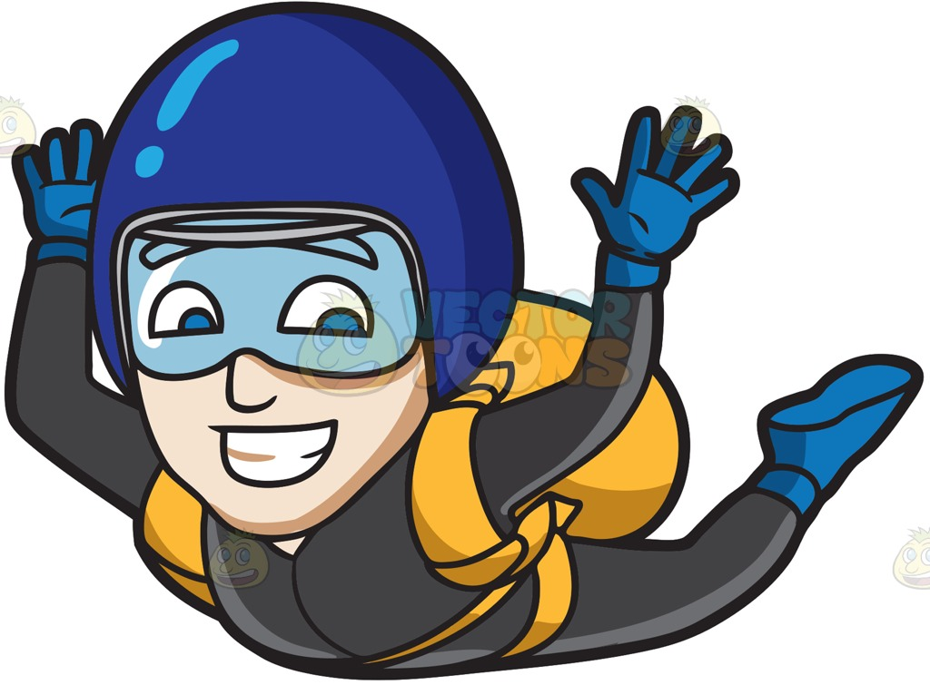 796b170187 1024x755 A Man Grins While Skydiving Cartoon Clipart Vector Toons