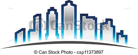 450x181 City Skyline. Skyscrapers Skyline In Horizon Eps Vectors