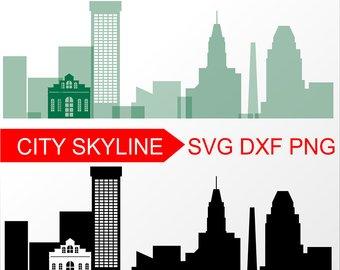 340x270 Cleveland Svg Vector Skyline Cleveland Silhouette Svg Dxf