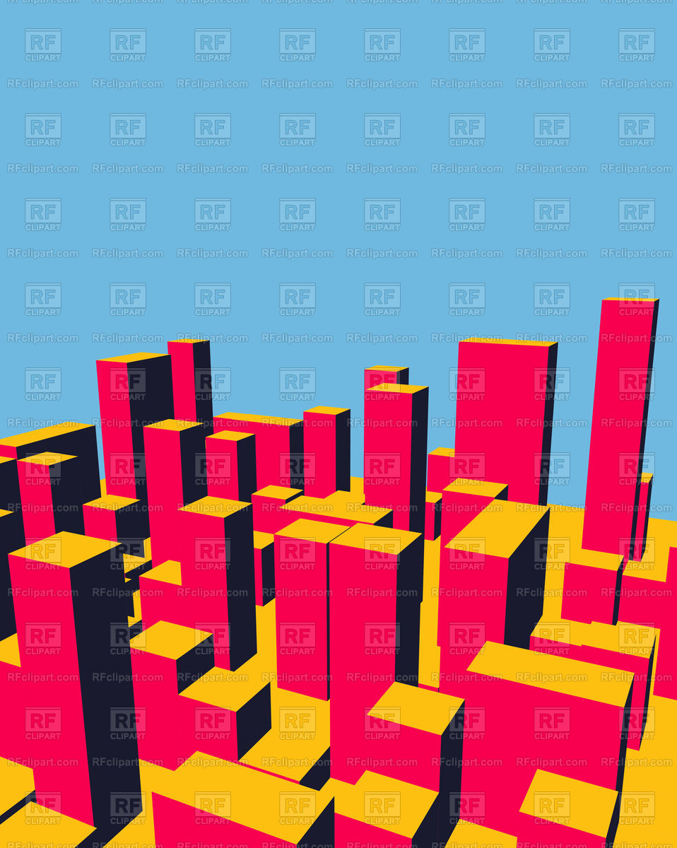 958x1200 Skyline. Abstract Town. Royalty Free Vector Clip Art Image