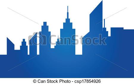 450x281 Blue City Skyline Isolated On White Vector Illustration