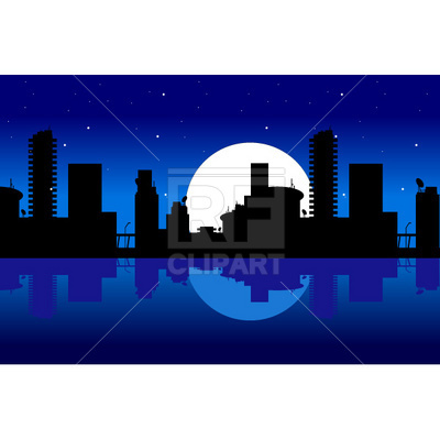 400x400 City And Night Royalty Free Vector Clip Art Image