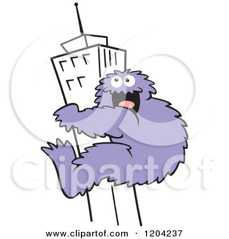 450x470 Cartoon Of A Purple Bigfoot Climbing A Skyscraper Building